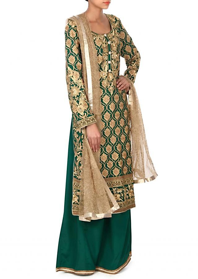 Green straight suit in zari and resham embroidery only on Kalki