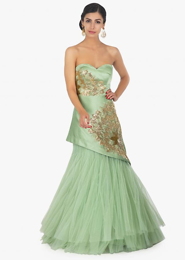Green Strapless Gown In Satin And Net Along With A Fancy Wrap Around Online - Kalki Fashion