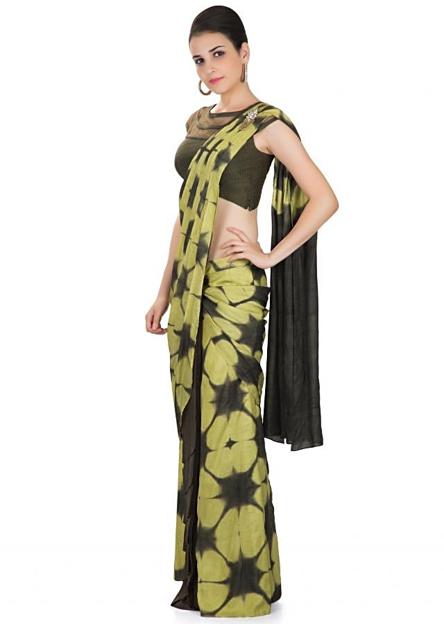 Green Tussar Silk Saree with Tie and Dye Design and Stone Tassel Embellishment only on Kalki