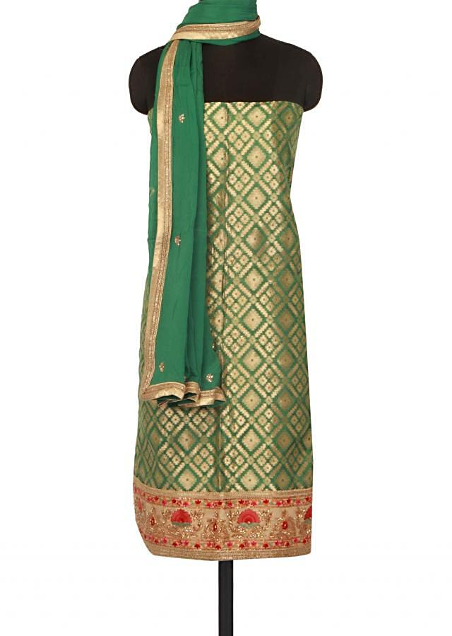 Green unstitched suit adorn in resham and kardana only on Kalki