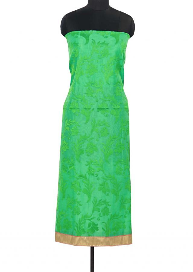 Green unstitched suit adorn in self resham embroidery only on Kalki