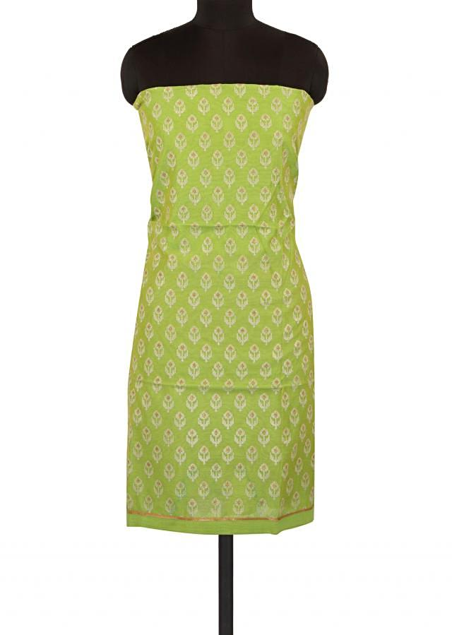 Green unstitched suit adorn in thread embroidered butti only on Kalki