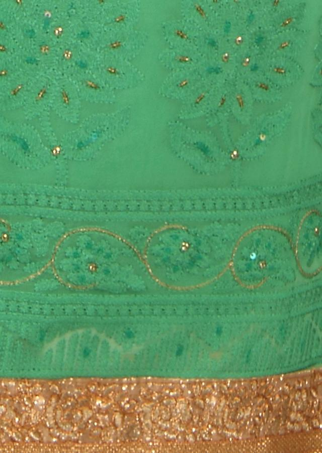 Shaded green unstitched suit in thread embroidery only on Kalki