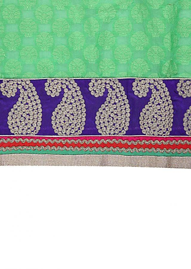 Green unstitched suit embellished in brocade only on Kalki