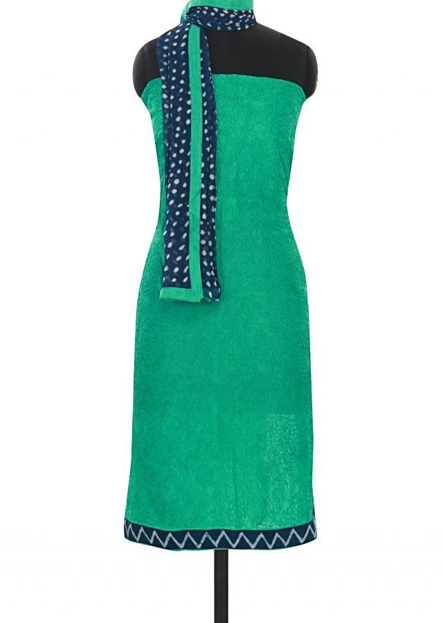 Green unstitched suit embellished in thread only on Kalki