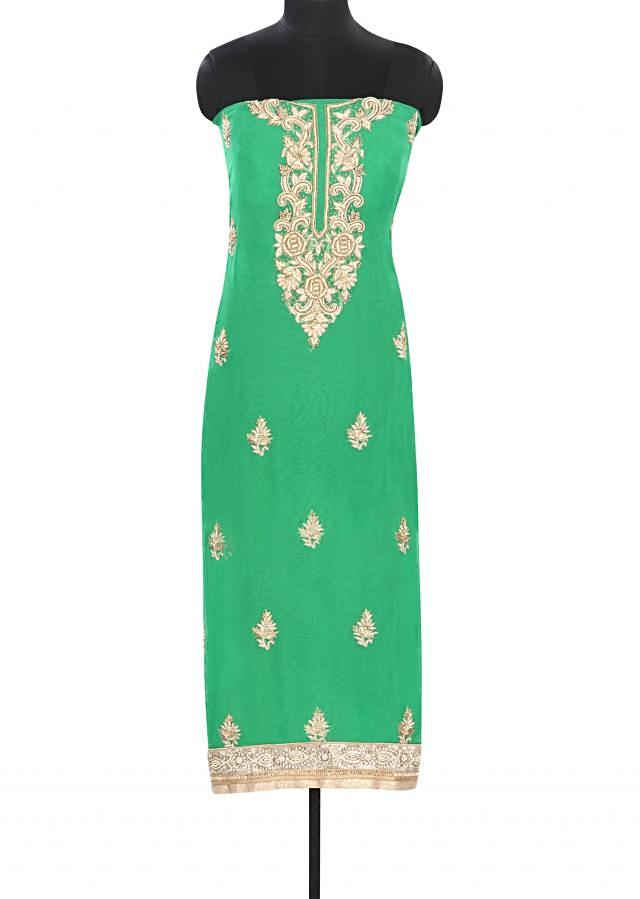 Green unstitched suit embellished in zardosi embroidery only on Kalki