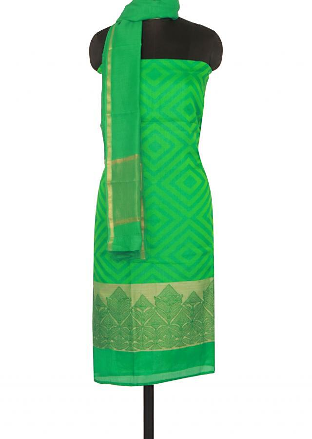 Green unstitched suit enhanced in weave only on Kalki