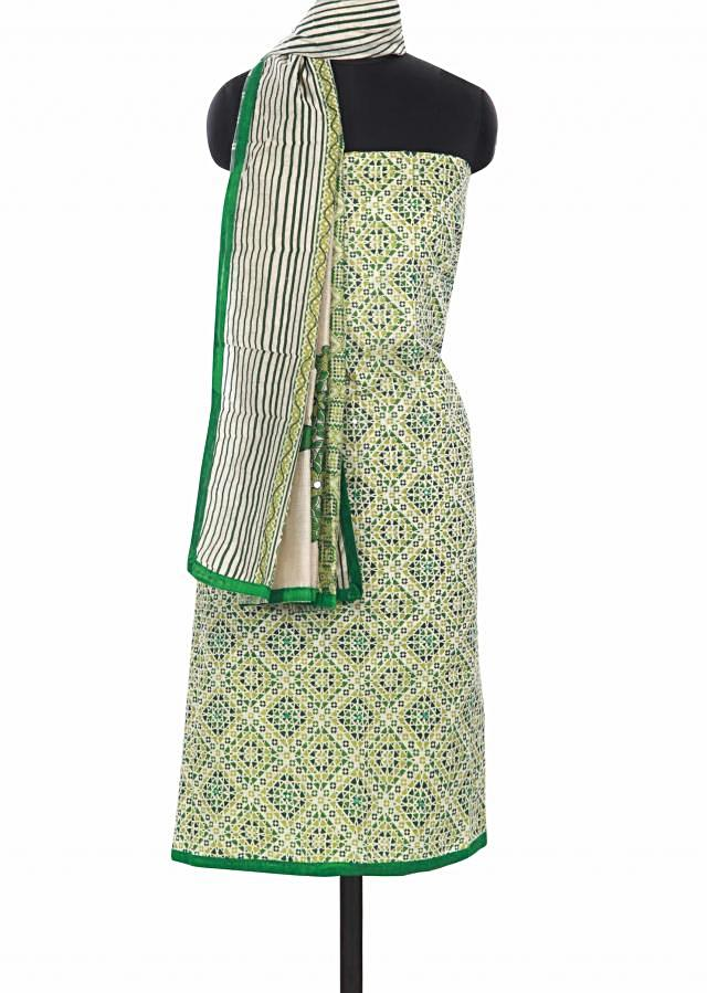 Green unstitched suit enhanced in print only on Kalki