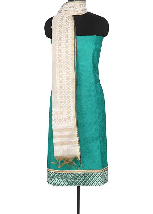 Green unstitched suit featuring in thread work only on Kalki