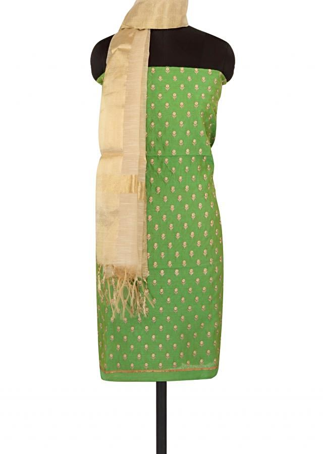 Green unstitched suit in resham embroidered butti only on Kalki