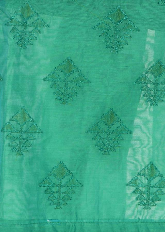 Green unstitched suit in thread embroidery only on Kalki