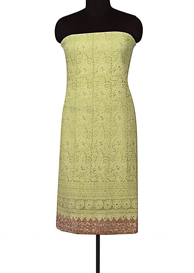 Green unstitched suit lucknowi thread embroidery only on Kalki