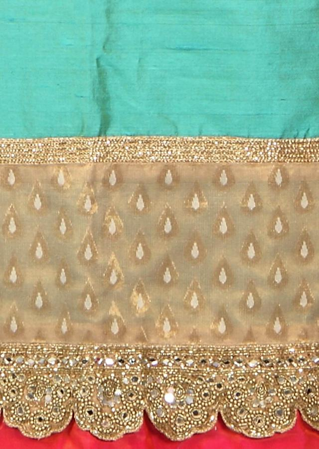 Green unstitched suit with embroidered hem line only on Kalki