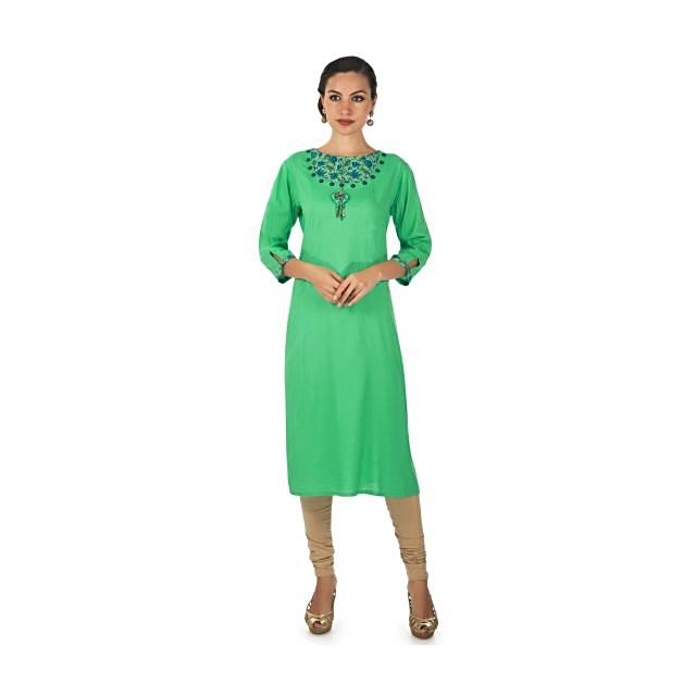 Green kurti in with fancy neckline in buttons and tassel only on Kalki