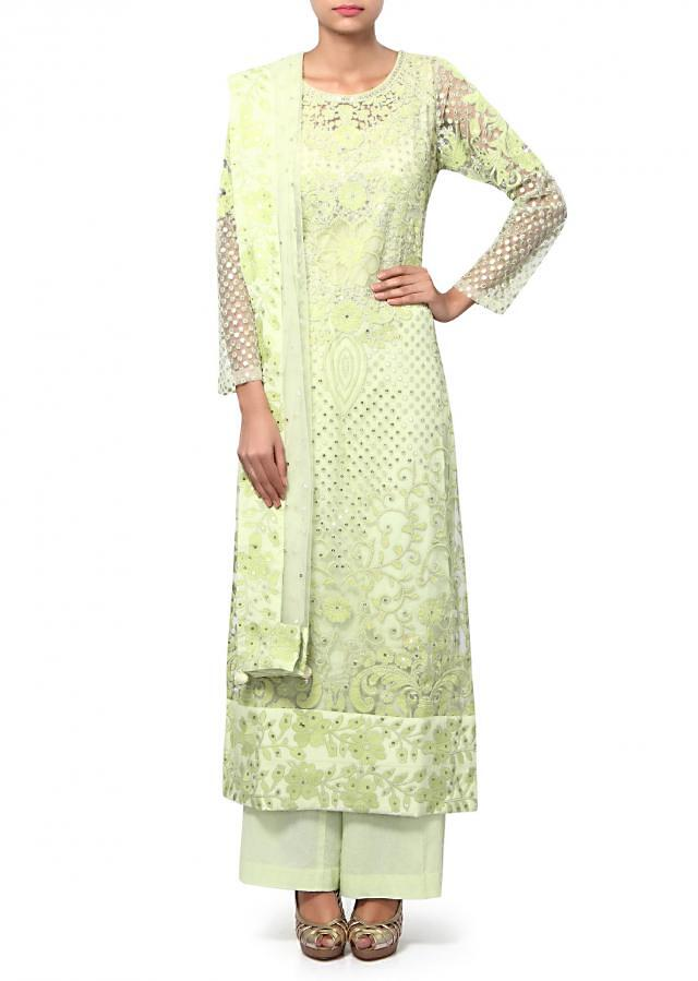 Green anarkali suit adorn in resham and sequin embroidery only on Kalki