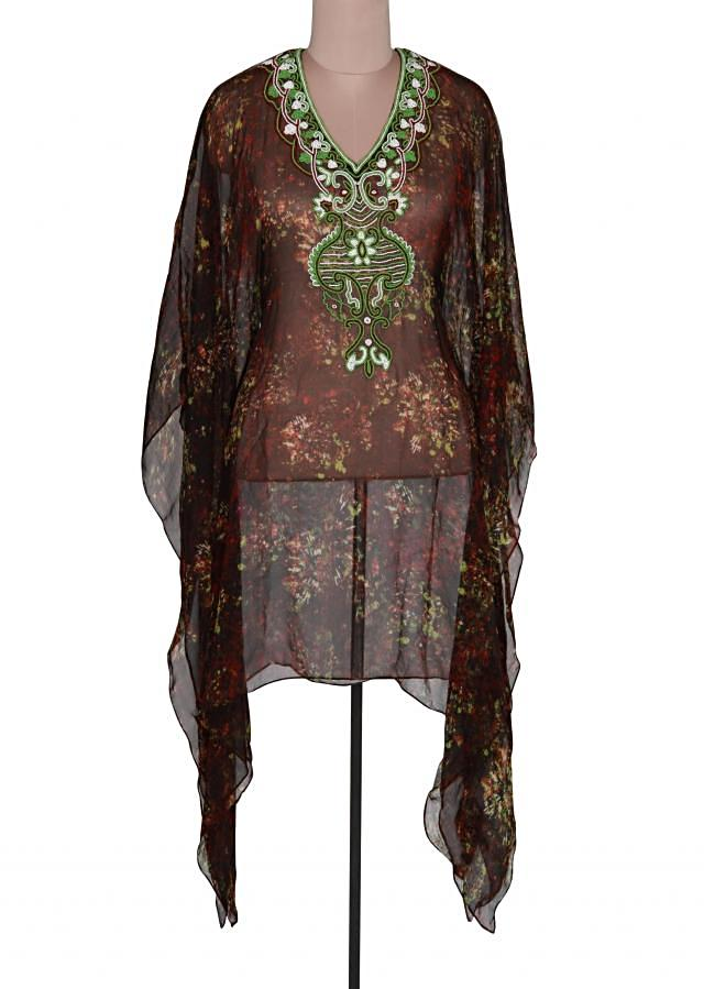 Green and black kaftan adorn in motti and kardana embroidery only on Kalki