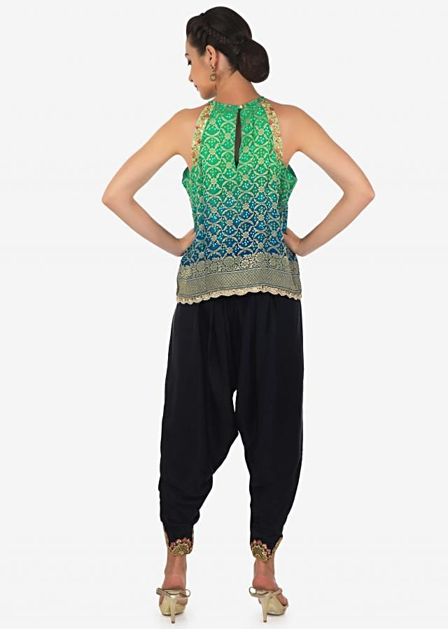 Green and blue shaded top with navy blue dhoti pants in resham and zari work only on Kalki