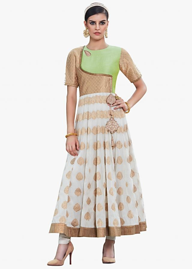 Green and off-white anarkali suit featuring the brocade and weaved butti embroidered work