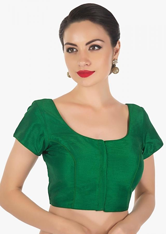Green blouse in raw silk with princes line only on Kalki