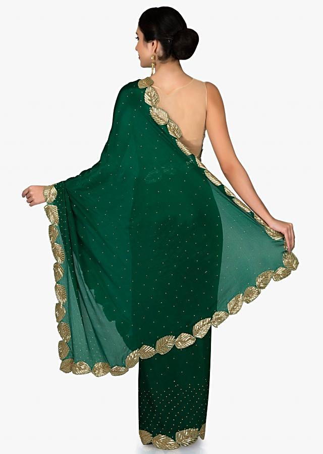Green Crepe Chiffon Saree and Blouse Embellished with Zardosi only on Kalki