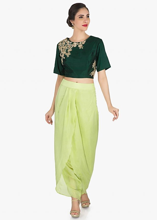 Green Dhoti Suit In Raw Silk Embellished With French Knot In Floral Motifs Online - Kalki Fashion