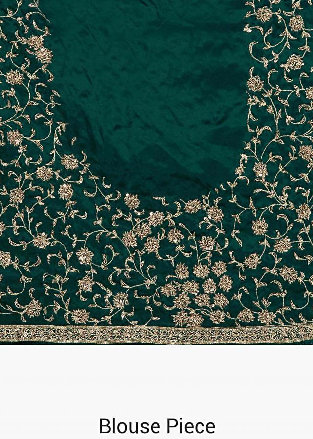 Green Georgette Saree Crafted with Zardosi and Sequins only on Kalki