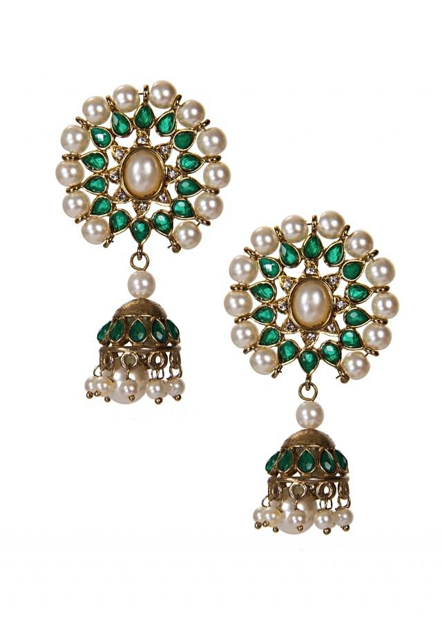 Green Kundan Jhumkis Adorn With Faux Pearls And Drops only on Kalki