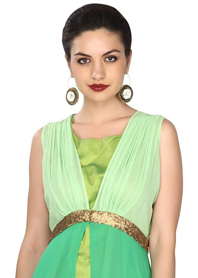 Green kurti enhanced in gathers and sequin embroidery only on Kalki