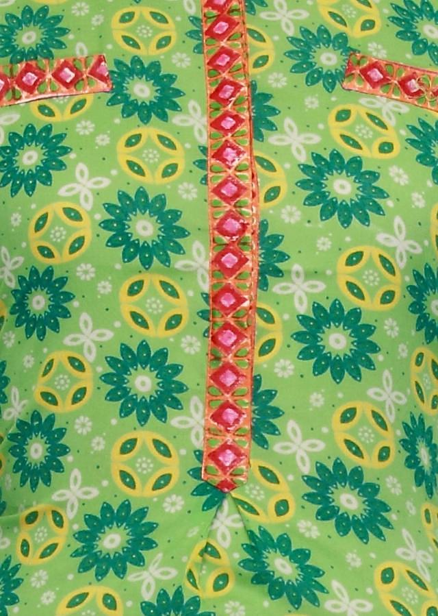 Green kurti enhanced with printed collar and placket only on Kalki