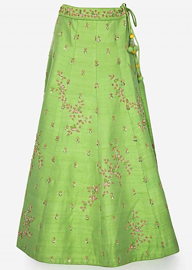 Green lehenga with yellow blouse beautified in frenchknot and sequin embroidery work only on Kalki