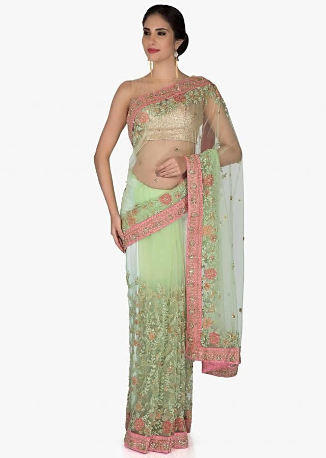 Green Net Saree and Blouse Studded with Resham Embroidery and Sequins only on Kalki