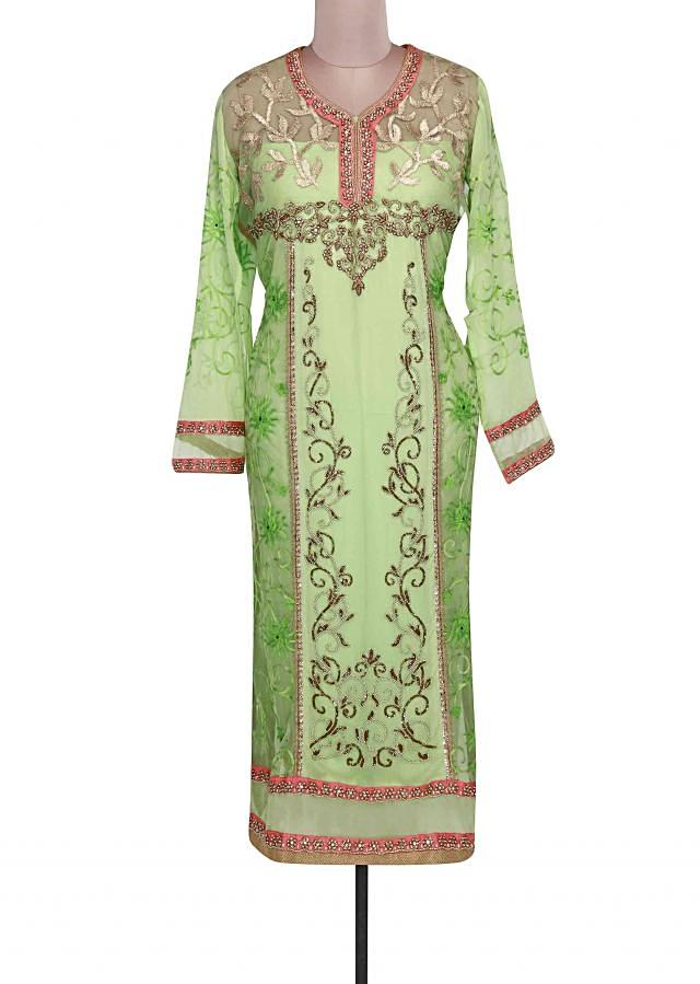 Green semi stitched suit adorn in pearl and gotta patti lace only on Kalki
