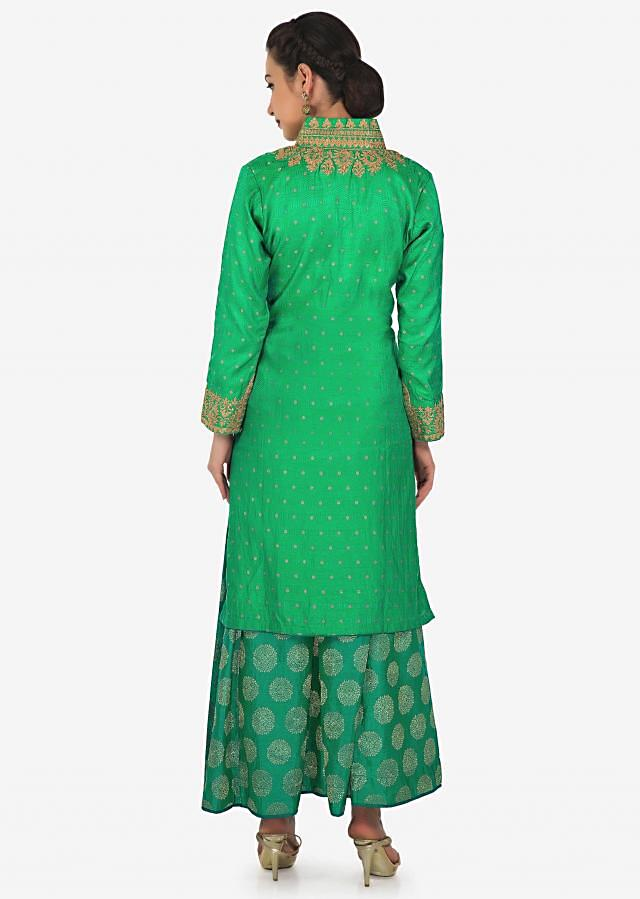 Green straight palazzo suit with zari embroidered collar and placket only on Kalki