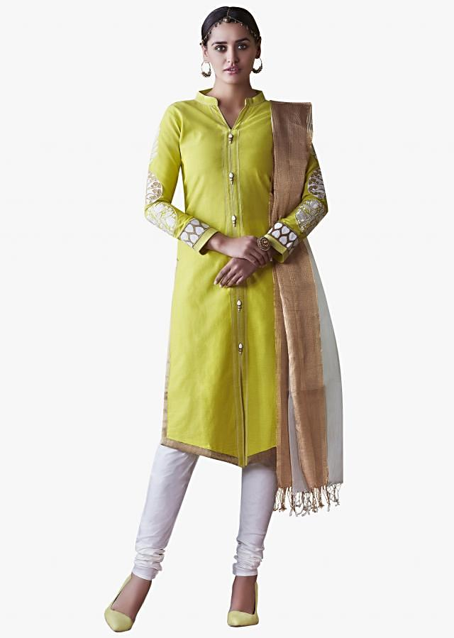 Green Suit in Cotton featuring the resham embroidery