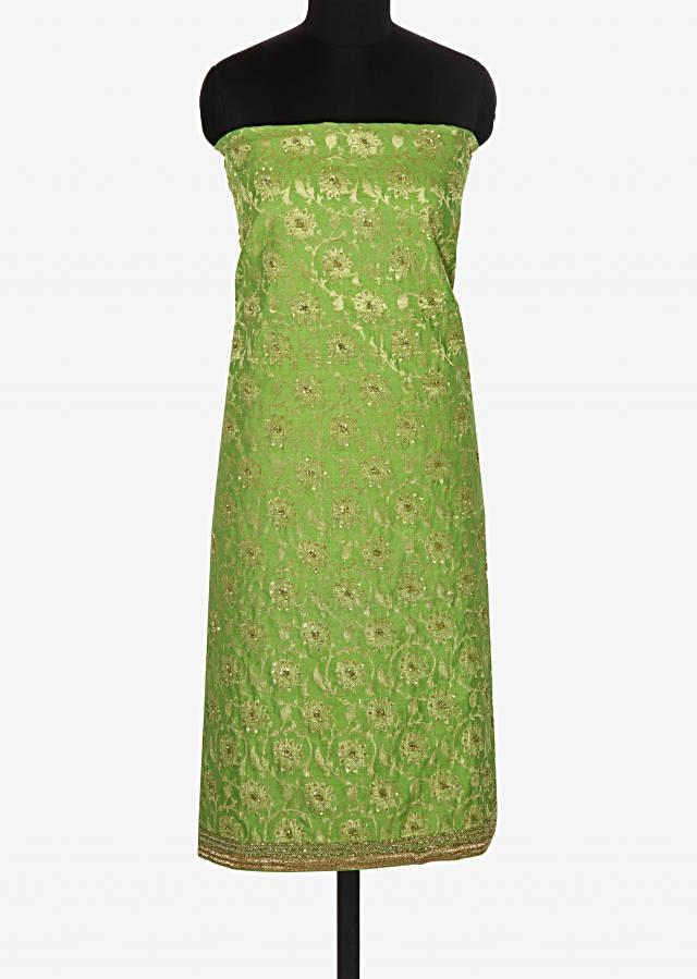 Green unstitched brocade printed suit only on Kalki