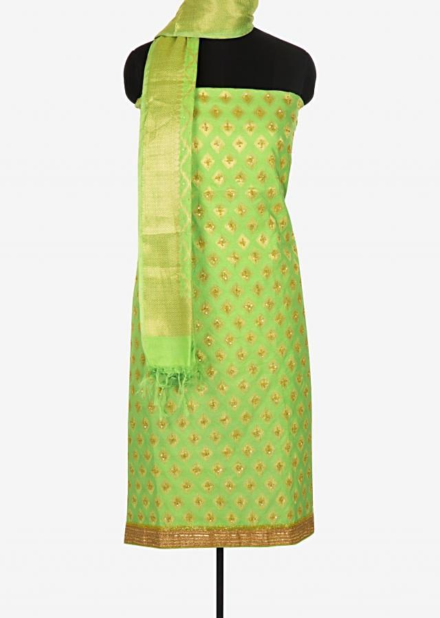 Green unstitched printed suit embellished in sequin and cut dana work only on Kalki