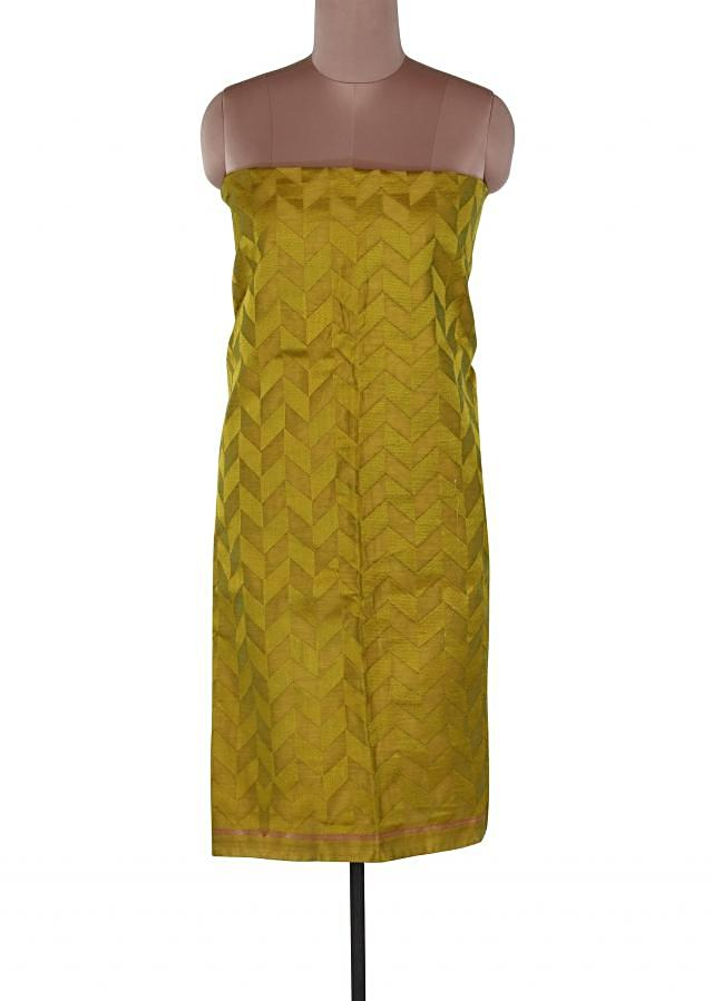 Green unstitched suit adorn in resham embroidery only on Kalki