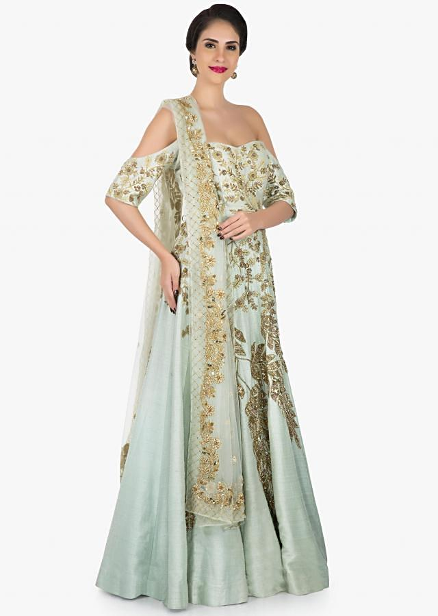Greenish grey anarkali gown beautified in cutdana and sequin work only on Kalki