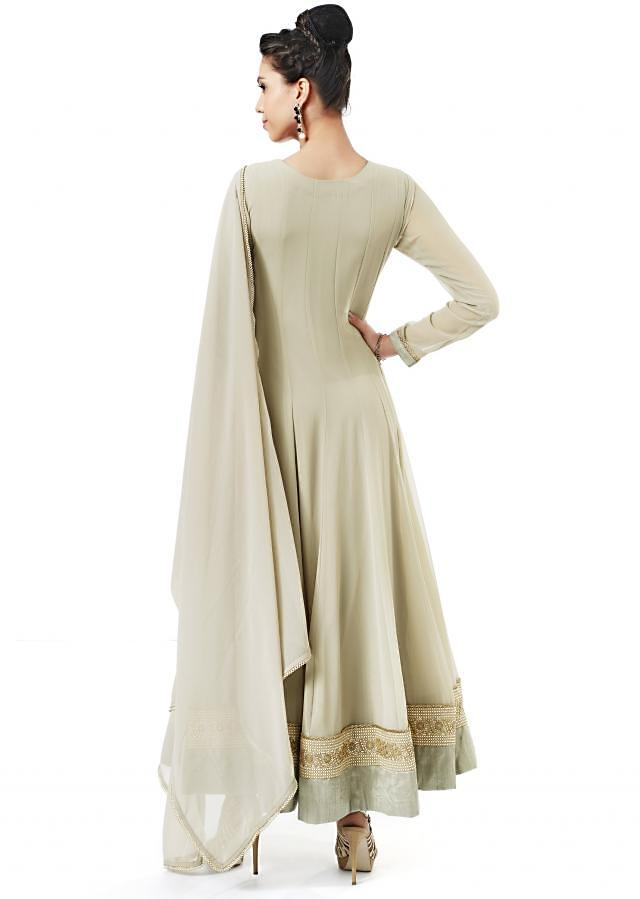 Grey anarkali suit adorn in mirror embroidery only on Kalki