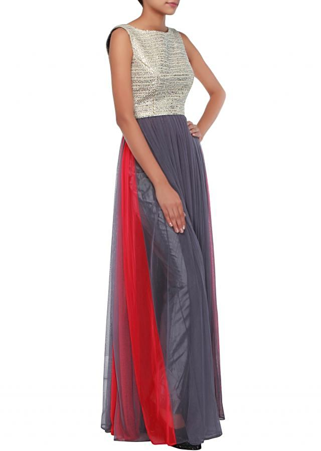 Grey anarkali suit adorn in pearl and stone embroidery only on Kalki