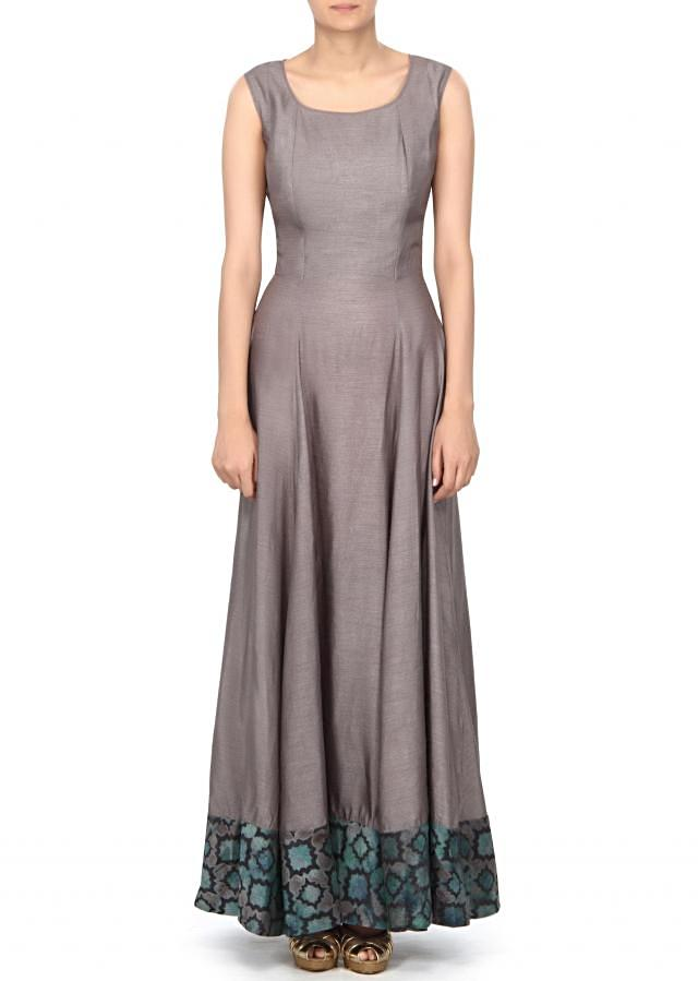 Grey anarkali suit mathced with embroidered jacket only on Kalki