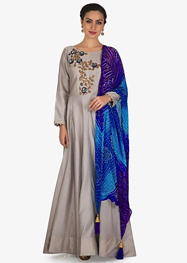 Grey anarkali suit with pleats and zardosi embroidered bodice only on Kalki