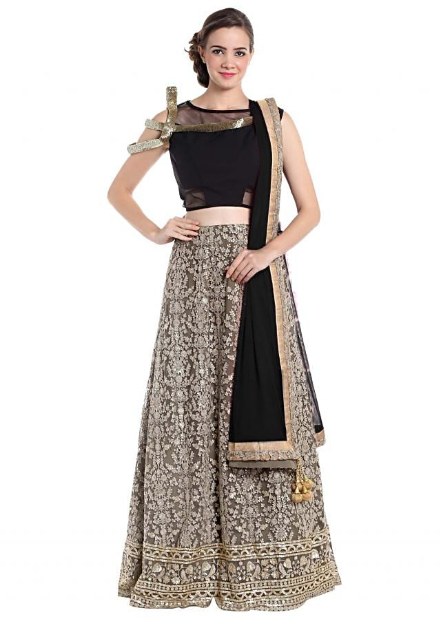Grey and black net and georgette lehenga choli with thread work only on Kalki