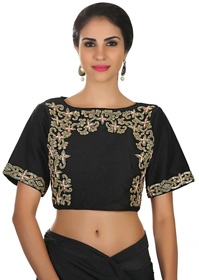 Grey and black pre stitched saree with coral ready embroidered blouse only on Kalki