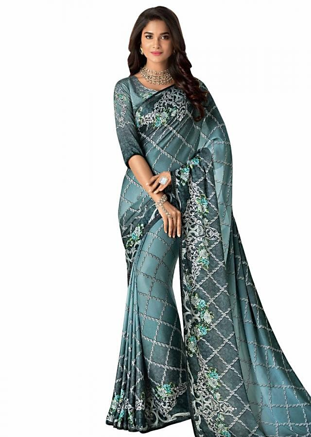 Grey and blue shaded saree in digital print along with floral motif