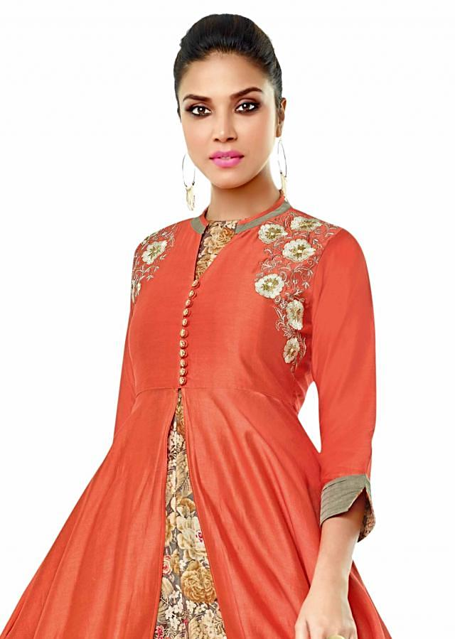 Grey and coral suit in print and resham embroidery only on Kalki