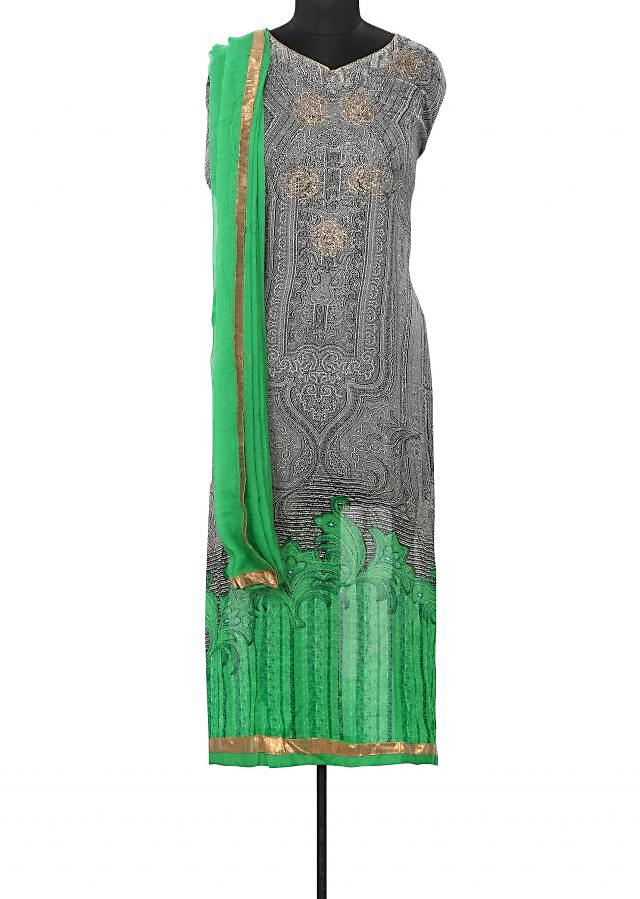 Grey and green unstitched suit enhanced in print and kundan only on Kalki