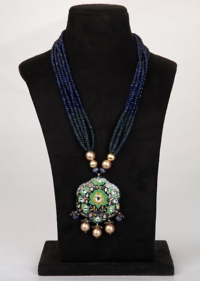Grey and indigo blue shaded multi string necklace with semi precious stone pendant.