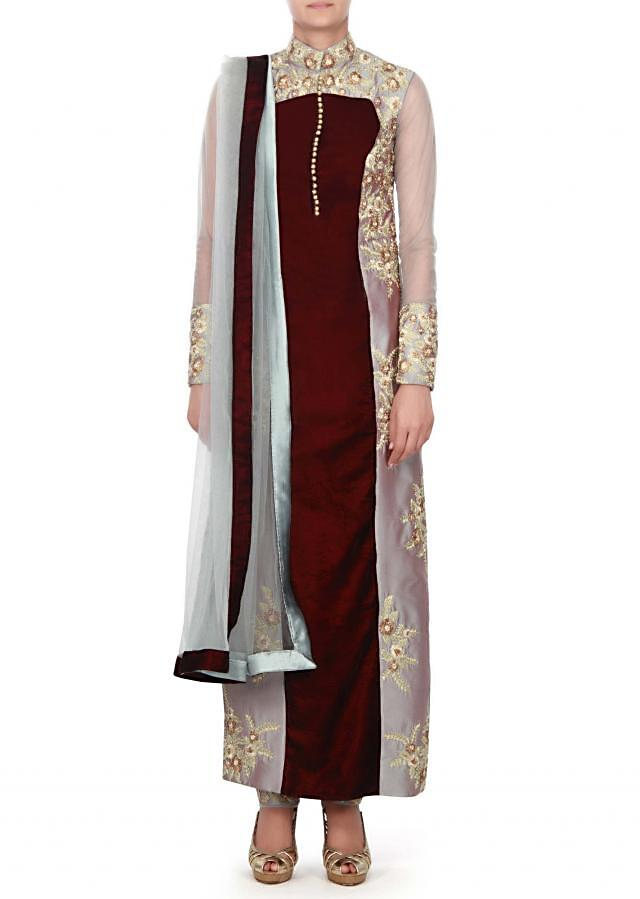 grey and maroon straight suit adorn in zari embroidered butti only on kalki