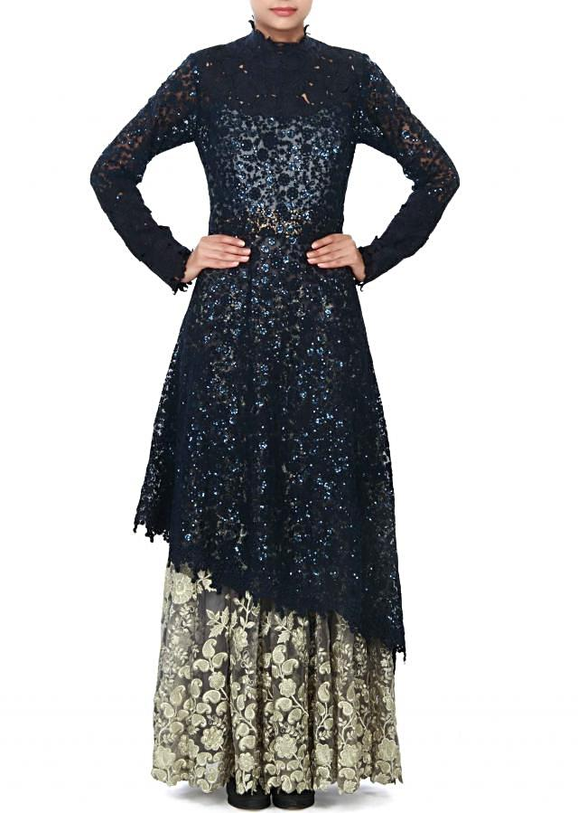 Grey and navy blue dress enhanced in sequin and thread embroidery only on Kalki